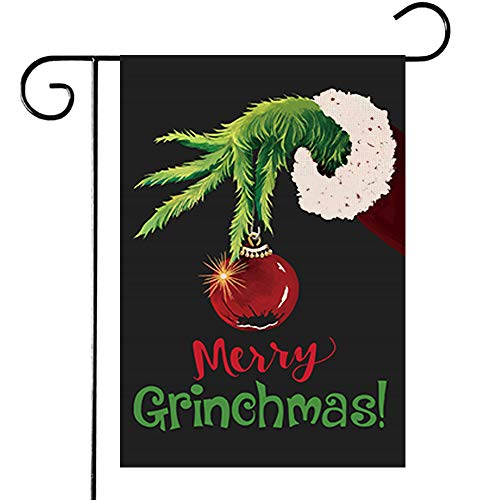 Disheen Grinch Garden Flag Flags 12 X 18 Double Sided, Merry Christmas Garden Yard Flag for Christmas, Grinch Christmas Decorations Decor Clearance Outdoor