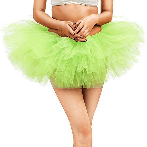 belababy Women Green Tutu Teen Girl Fairy Dress Up Skirt, One Size, Green