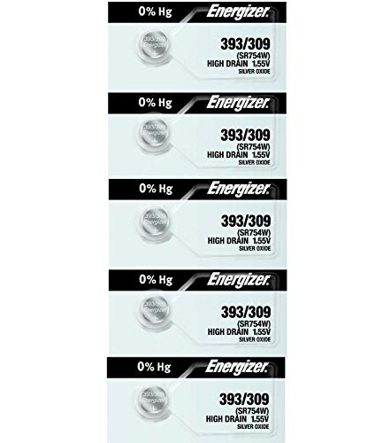 393 or 309 Energizer - 1 Pack of 5 Batteries. SR48W, AG5, LR754, SR754W Timex F Energizer 393