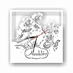 """mamakyma Offer. Cut of Plastic 11,4"""" Aladine and Jasmine Wall Clock. Non-Tickling. Classic White for Any Type of Room."""