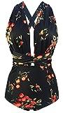 COCOSHIP Black & Orange Tangerine Fruit Retro One Piece V-Neck Swimsuit Bather High Waisted Criss Cross Monokinis Swimwear M(US6)