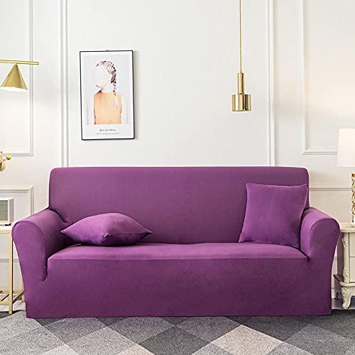 Fundas de sofá Estampadas Elástica,púrpura 2 Plazas Antideslizante Ajustables Funda de Sofá,Universal Poliéster Protector Cubierta de Muebles,+2 Funda de Cojín