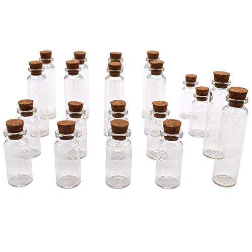 Xiuyer Mini Botellas de Vidrio con Tapones de Corcho, Conjunto de 20 Pequeñas Tarros de Especia 10ml & 20ml Viales de Cristal para Bricolaje Manualidades Decoración Contenedores de Almacenamiento