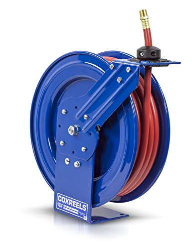 """Coxreels P-LP-450 Retractable Air/Water Low-Pressure Hose Reel, P Series, ½"""" x 50' - Easy-to-Use Compact Design- Heavy-Duty Steel Construction, Made in the USA"""