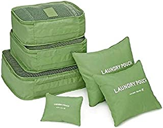 eWINNER 6 Pcs Travel Storage Bag Set For Clothes Tidy Organizer Pouch Green