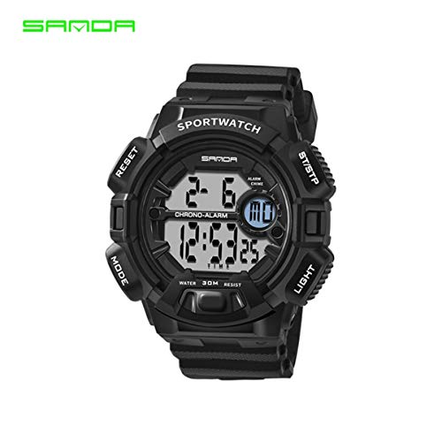 Sanda Watch Herren Shockproof Watch Student Wasserdichte Elektronische Uhr Multifunktions-Digital LED Sportuhr