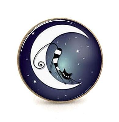 Bague chat au clair de lune, bleu nuit noir étoiles, bijou cabochon
