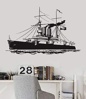 V-studios Vinyl Decal Ship Navy War Military Boys Room Naval Decor Wall Stickers 018ig