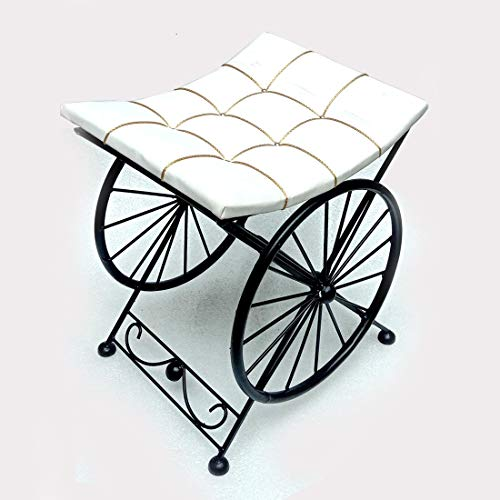 Wai Sitting Stool Wheel Look with Cushion seat pouffe Ottomans/footrest stools for Bedroom and Living Room Stylish/Medium Size (15 inches Height x 10 L x 15 B) (Medium, White Curve)