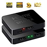 HDMI Splitter 4K, Splitter HDMI 1x2, 2 Vie Sdoppiatore HDMI Supporto 3D UHD 1080p HDCP per Xbox, CEC, PS4, PS3, One Sky Box, Blu-Ray Lettore, DVD, DVR, HD TV