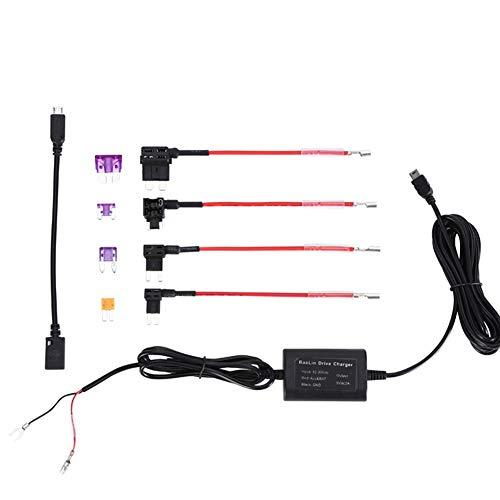 Dash Cam Hardwire Kit, Voltage Converter Hard Wire Car Charger Cable Set 12-30 V zu DC 5 V Netzteiladapter 2A Buck Line für LED-Lichtleisten Tastatur Lautsprecher Router Kamera