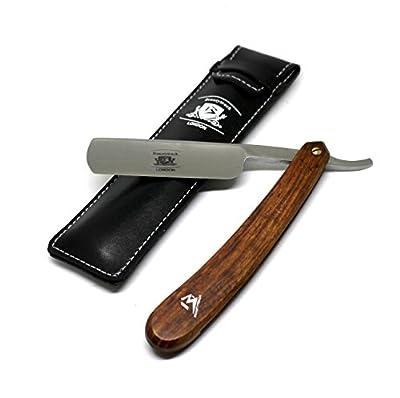 BeautyTrack Pure Wood Handmade Straight Wet Shaving Cut throat Razor Shaver Barber Razors + leather strop - vintage shaving kit for men - Superb Gift ideas