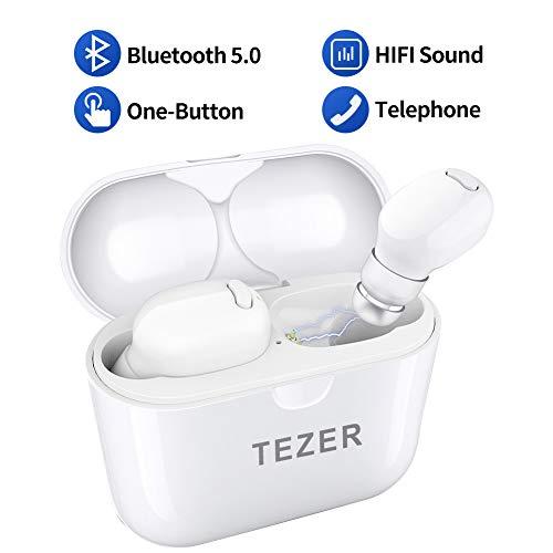 TEZER Bluetooth Kopfhörer in Ear Wasserdicht Sport Wireless Bluetooth Ohrhörer mit Ladekästchen, Bluetooth 5.0 Headsets Kabellose Kopfhörer für iPhone Android