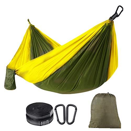 Ovyuzhen Single/Double Outdoor Garden Camping Hammock,1/2 Person Hammock Portable with Carrying Bag for Patio Yard Garden Backyard Porch Travel (Army green + yellow)
