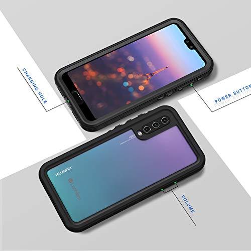 Lanhiem für Huawei P20 Pro Hülle, IP68 Zetrifiziert Wasserdicht Handy Hülle 360 Grad Schutzhülle, Stoßfest Staubdicht und Schneefest Outdoor Schutz mit Eingebautem Displayschutz - Schwarz - 6