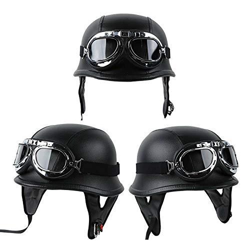 SLMOTO DOT German Motorcycle Leather Helmet Half Face Safe Protect Helmet Biker Pilot Goggles Chopper Cruiser Biker Helmet+Goggles
