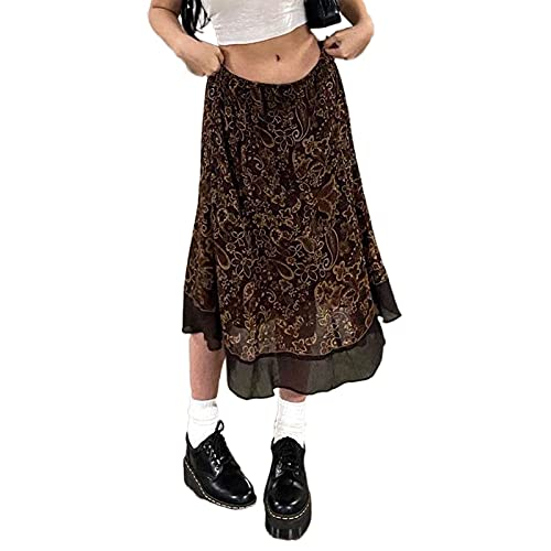 Women Floral Print Midi Skirt Y2k Aesthetic Low Waist Mesh Skirt Grunge Fairycore Midi Skirt 90s E-Girls Streetwear (Brown Mesh, Large)