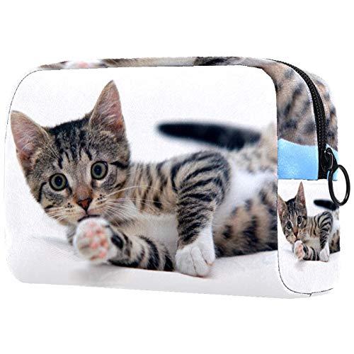 Kosmetiktasche für Kosmetikpinsel, tragbar, für Damen, mit Katzen-Motiv