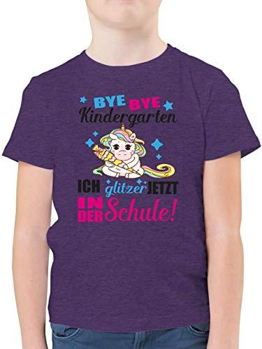 Einschulung und Schulanfang - Ich Glitzer jetzt in der Schule Einhorn mit Schultüte - Fuchsia - 140 (9/11 Jahre) - Lila Meliert - Einhorn - F130K - Kinder Tshirts und T-Shirt für Jungen