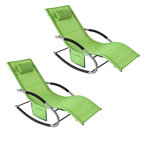 SoBuy Set of 2 Outdoor Garden Rocking Chair Relaxing Chair Sun Lounger with Side Bag, Green OGS28-GR x2