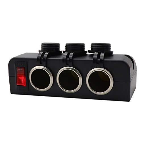 Wakauto Zigarettenanzünderadapter 12V / 24V 3-Buchsen-Stromverteiler Gleichstromsteckdose mit 16A 3 USB-Anschlüssen Multifunktions-Autoladegerät LED-Anzeigespannung Beim Ausschalten Des