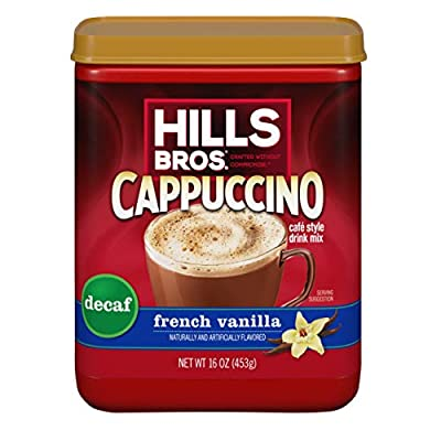 Hills Bros. Instant Cappuccino Mix, Decaf French Vanilla Cappuccino–Easy to Use, Enjoy Coffeehouse Flavor at Home-Decadent Cappuccino with Sweet Notes and No Caffeine (16 Ounces)