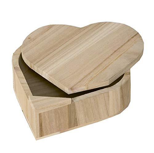 Artemio Caja de Madera de corazón con Tapa giratoria