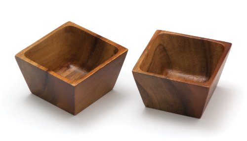 Lipper International 1100-2 Acacia Wood Square Salt Pinch or Serving Bowls, 3' x 3' x 2-1/2', Set of 2
