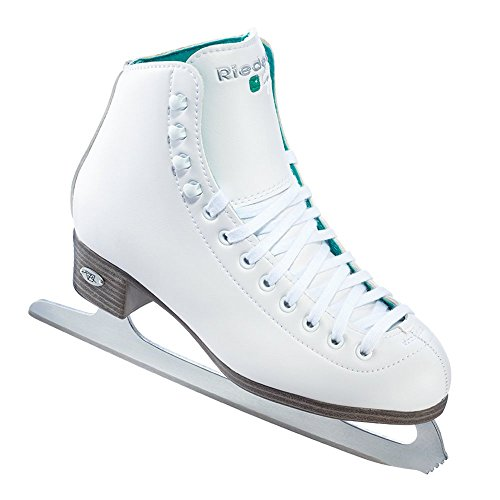 Riedell Skates - 110 Opal - Recreational Ice Skates with Stainless Steel Spiral Blade | White | Size 8