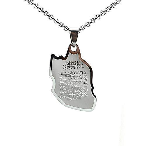 TFOOD Weltanhänger Halskette,Vintage Edelstahl Iran Map Verse Silber Farbe Anhänger Freundschaft Halskette Schmuck Geschenk Für Männer Frauen Mädchen