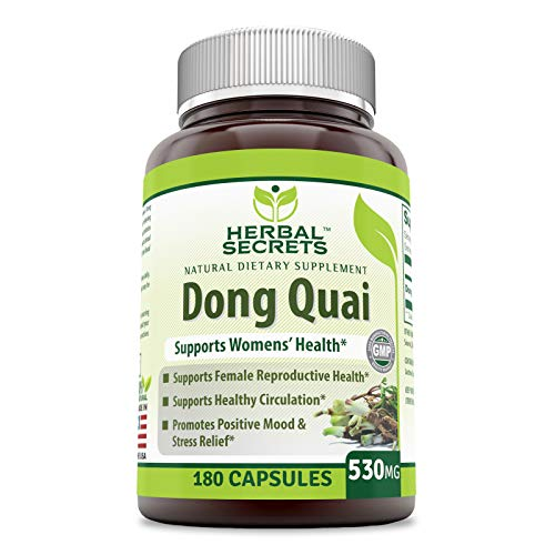 Herbal Secrets Natural Dietary Supplement - Dong Quai - 530 Milligrams - 180 Capsules - Supports Women's Health - Encourages Better Circulation