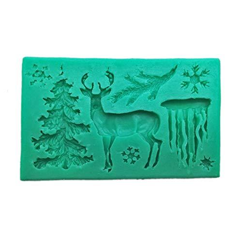 NZ Molde de Silicona de Navidad 3D, moldes de Caramelo de Chocolate, Copos de Nieve, moldes de Fondant para Pasteles, moldes para Hornear de Cocina, Alfombrilla para Hornear, Molde para Bricolaje