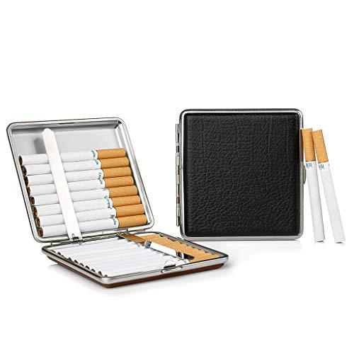 2 X Zigarettenetui Schwarz aus hochwertigem Metall/PU Leder, elegant Zigarettenbox Schwarz zurückhaltend Dank schwarzer Applikation aus pu Leder Cigarette Case für 20 Zigaretten