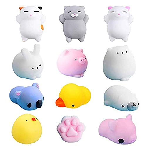 Squishies Toys, Mochi Squishies for Kids, Small Squishy Kawaii Animal Squishies Squeeze Stress Reliever Anxiety Toys (12 Pcs)