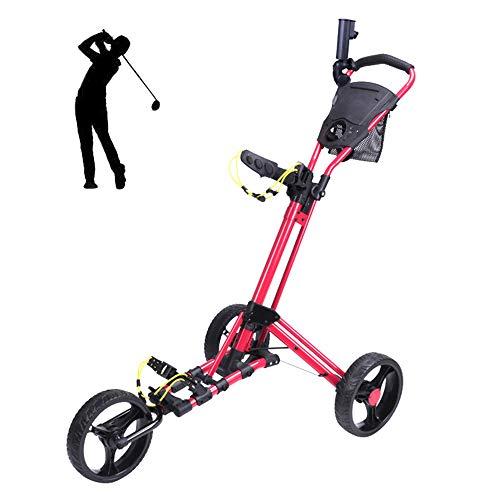 YQQWN 3-Rad-Push-Pull-Golf Cart - Leichte Golf Cart - Golf Trolley -Umbrella Halter - Multifunktions-Scorecard - Netztasche - Golf-Beutel-Halter - Fußbremse
