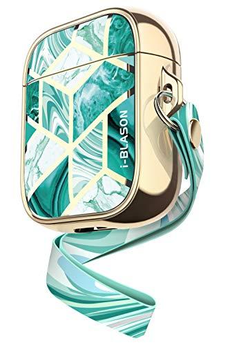 i-Blason AirPods Hülle für Frauen Tragbar AirPods Case Stoßfest AirPods Schutzhülle Stylish AirPods Cover [Cosmo] Unterstützt Kabelloses Laden für Apple AirPods 1 & 2 (Grün)