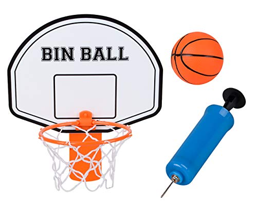 Edgewood Toys Mini Basketball Hoop Trash Can Set – Easy to Attach Backboard with Hoop, Inflatable Mini Rubber Basketball, & Pump and Pin – Great for Offices & Kids Bedrooms – Attach to Any Trash Bin