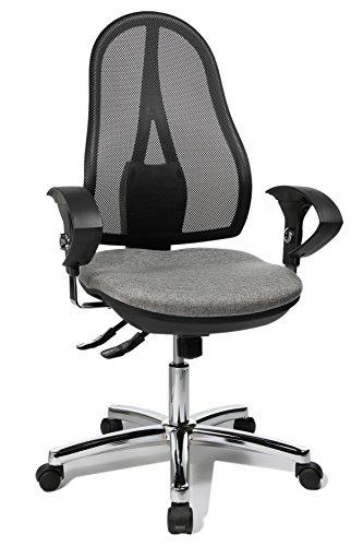 Topstar Open Point SY Deluxe, ergonomischer Syncro-Bandscheiben-Drehstuhl, Bürostuhl, Schreibtischstuhl, inkl. Armlehnen (höhenverstellbar), Stoff, hellgrau