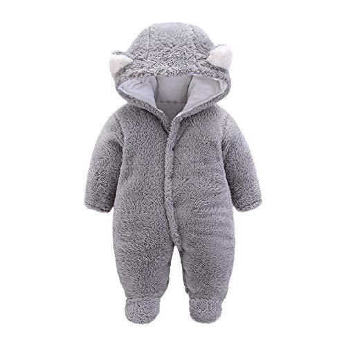 Zhen+ Unisex Baby Plüsch-Overall für 0-12 Monate Junge Mädchen Samt-Jumpsuit Strampler Einfarbige Bodysuit Säugling Spielanzug Schlafanzug Outfit Wintermantel - Kauf 2 Stück 10% sparen