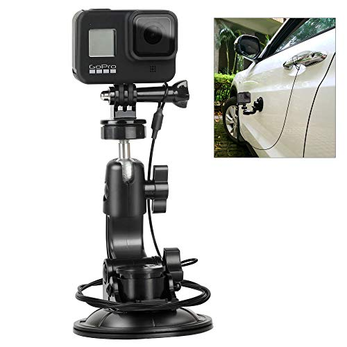 Suction Cup Car Mount Stand Tripod Adapter with Safety Tether Outdoor Indoor for Gopro Hero Session 9 8 7 6 5 4 3+ 3 2 1,DJI OSMO Action, Action Compact Camera