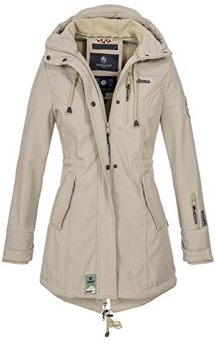 Marikoo Marikoo Damen Winter Jacke Winterjacke Mantel Outdoor wasserabweisend Softshell B614 [B614-Zimt-Hellgrau-Gr.S]