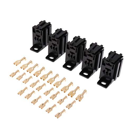 qinqin 5 Piezas 5Pin 60A PCB Soporte de relevo Tablero de Montaje con terminales Negro
