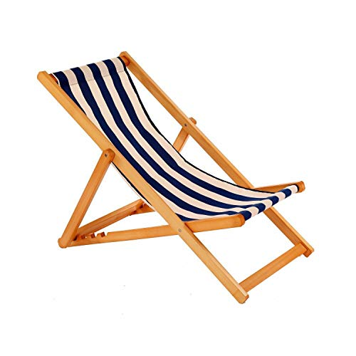 ADHW Traditional Folding Hardwood Garden Beach Sea Side Deck Chairs Deckchairs
