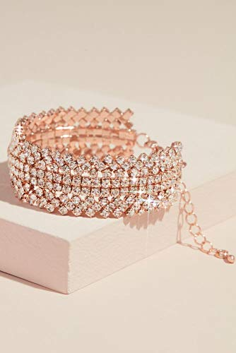 David's Bridal Gemstone Crystal Stack Cuff Bracelet Style MBR15922, Rose Gold