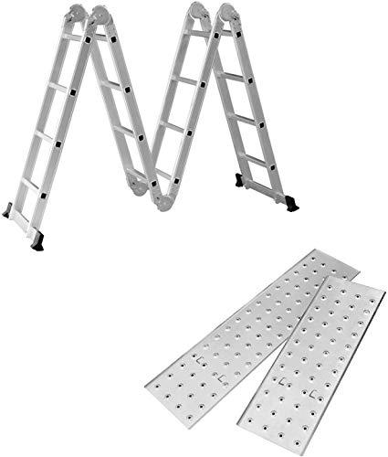 Aufun Mehrzweckleiter Multifunktionsleiter Leitergerüst Leiter, 2 Gerüstplatten und 2 Bodentraversen,16 Stufen, 4,7m Gesamtlänge, bis 150 kg