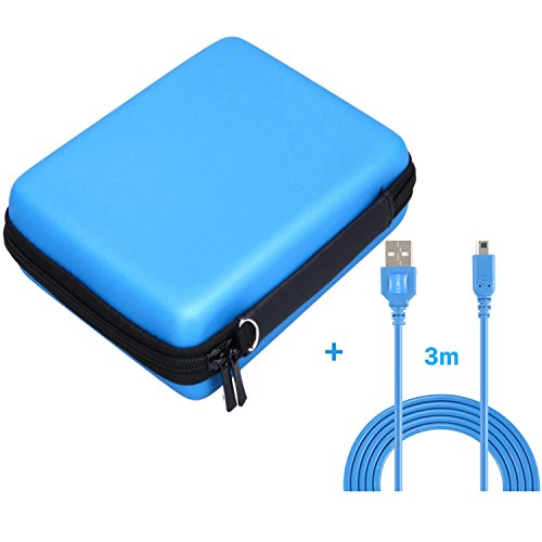 Exlene Nintendo 2DS Hard EVA Carrying Case Cover Bag + 3M usb charging cable for Nintendo 2ds, Protective Travel Storage Cover pouch with 8 Game Cartridge Holders (Blue)