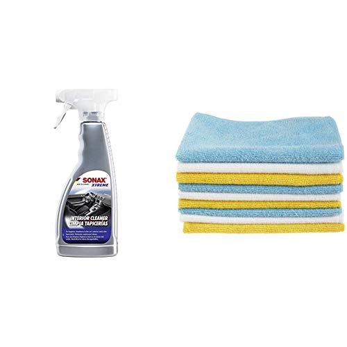SONAX 221241 Xtreme Auto-Innen-Reiniger 500 ml & AmazonBasics Mikrofaser-Reinigungstücher, 12 Stück