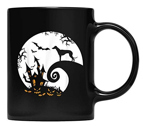 N\A Taza Divertida Galgo y la Luna Disfraz de Halloween