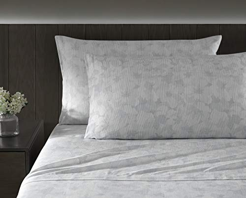 Vera Wang | Variegated Floral Collection | Bed Sheet Set - 100% Cotton, Soft & Silky-Smooth Sateen, Machine Washable For Easy Care, King, Pastel Blue