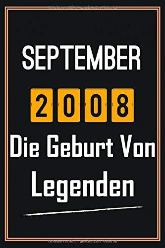 September 2008 Die Geburt von Legenden: 12. geburtstag geschenk jungs mädchen, geschenkideen für 12 jährige Bruder Schwester Freund - Notizbuch a5 liniert